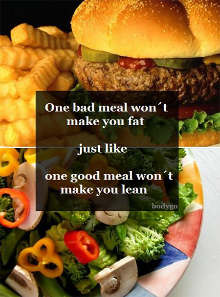 การทานของไม่มีประโยชน์หรือของอ้วนๆ เพียงมื้อเดียวไม่ได้ทำให้คุณอ้วน เช่นเดียวกันกับการทารอาหารสุขภาพเพียงมื้อเดียวก็ไม่ได้ทำให้มีหุ่นที่ดี