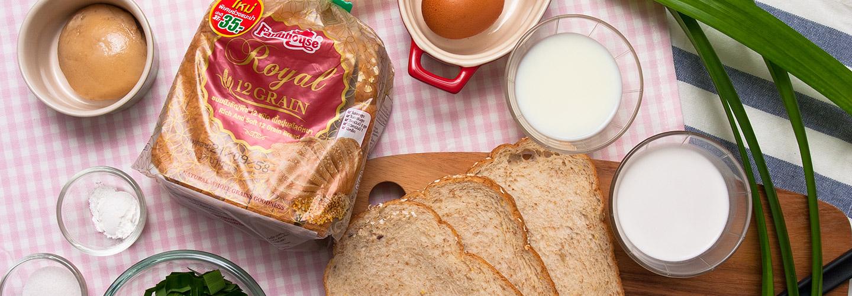 ขนมปังสังขยาใบเตยสูตรไขมันต่ำ