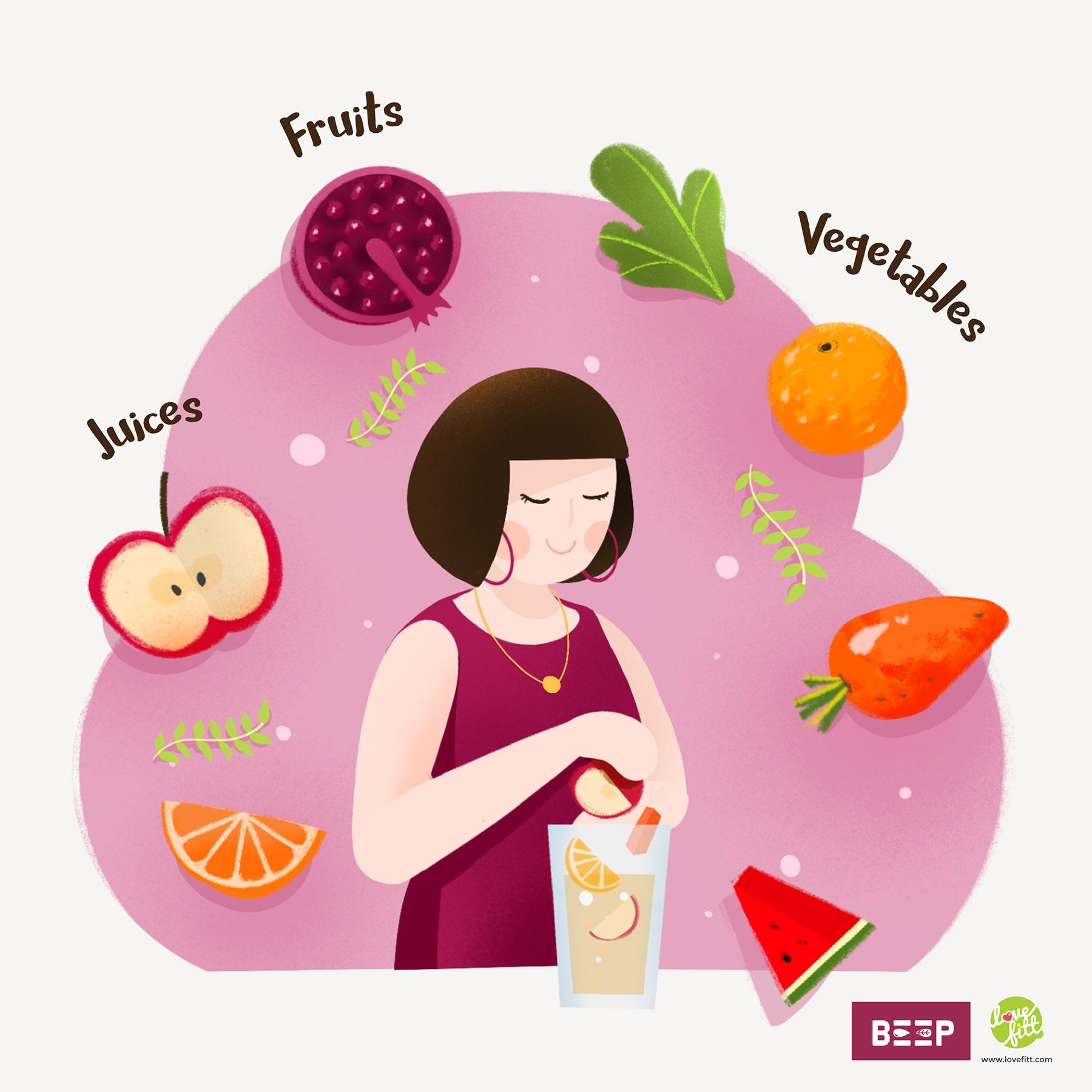 เลือกน้ำผลไม้เพื่อสุขภาพ