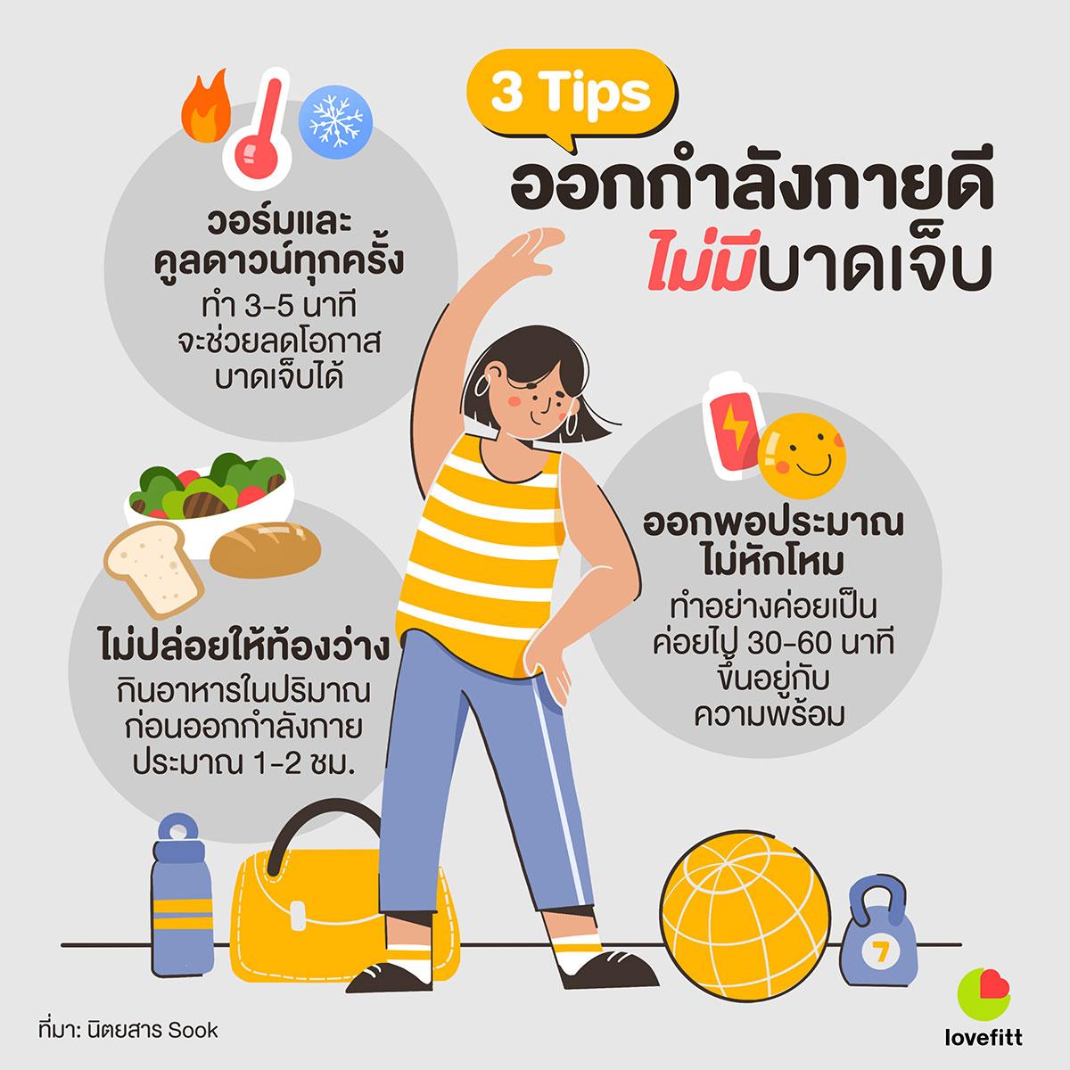 3 Tips ออกกำลังกายดี ไม่มีบาดเจ็บ